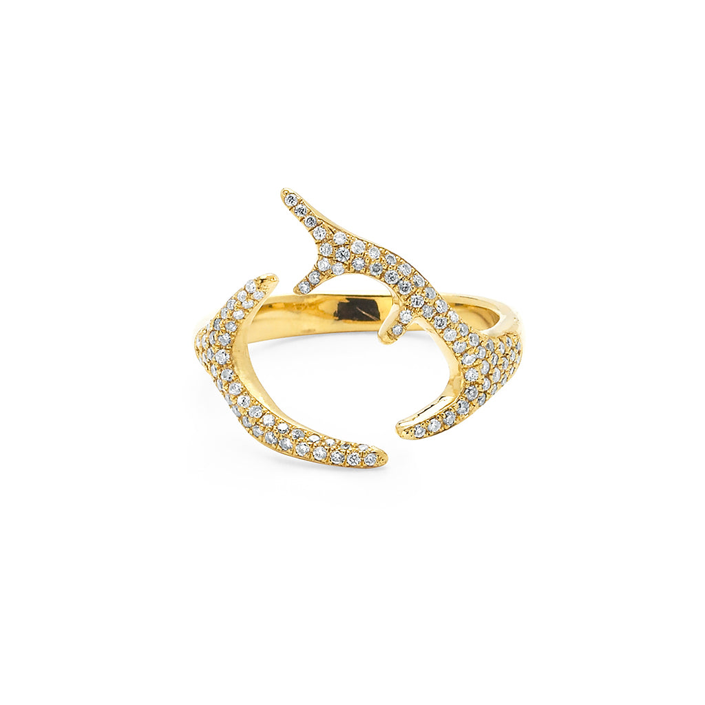 Yellow Adorned Small Horns Ring