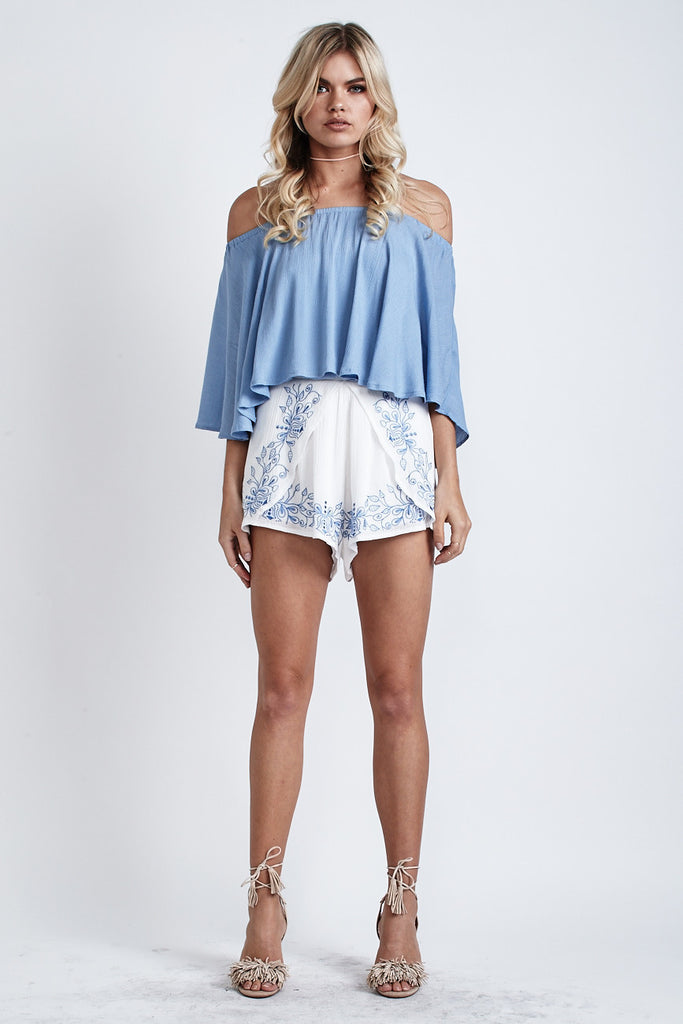Ellie Off Shoulder Top Blue - Morrisday | The Label - 4