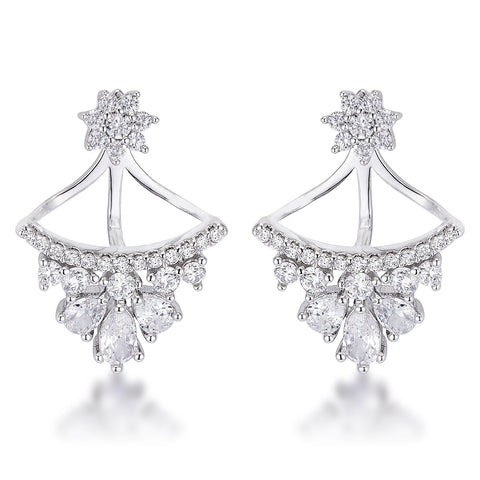 Aamori CZ Floral Stud Chandelier Illusion Ear Jacket Earrings | 2ct