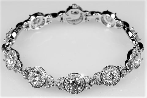 Abella Vintage Art Deco Halo Statement Bracelet – 7.25in
