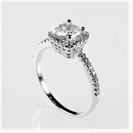 Ada Delicate Princess Cut Halo Engagement Ring | 1.25ct | Cubic Zirconia | Silver