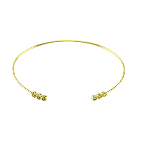 Adia CZ Round Mini Bar Gold Open Wire Bracelet
