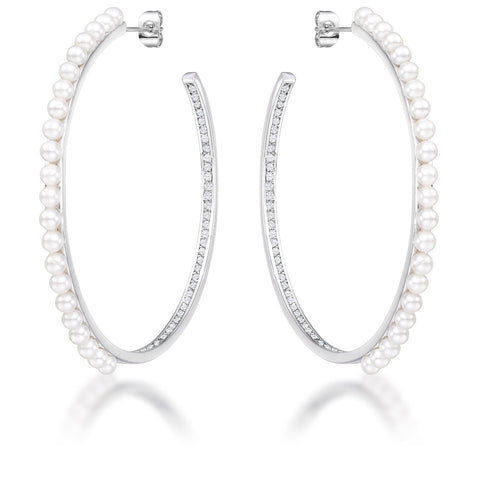 Chitsa Graduated Silvertone Linear CZ Earrings