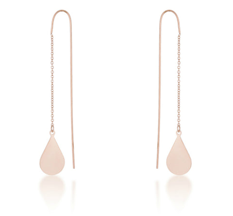 Chloe Stainless Steel Teardrop Threaded Drop Earrings | Stainless Steel | Rose Gold