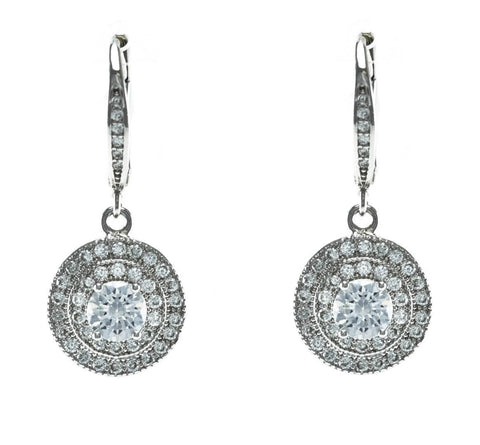 Pati Round Halo CZ Drop Earrings | Cubic Zirconia | Silver