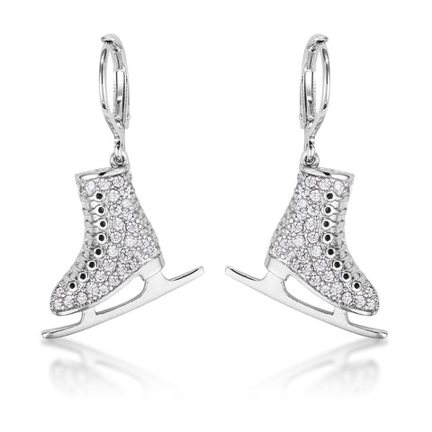 Shana Delicate Silvertone Ice Skate Earrings