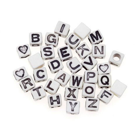 6mm White Cube Alphabet Beads w/ Black Letters (Choose Letter) (30 Pieces)