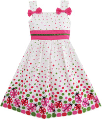 Girls Dress Bug Print Colorful Dot Size 2-8 Years