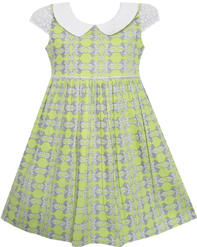 Girls Dress Bow Tie Swan Print Turn-Down Collar Green Size 4-10 Years