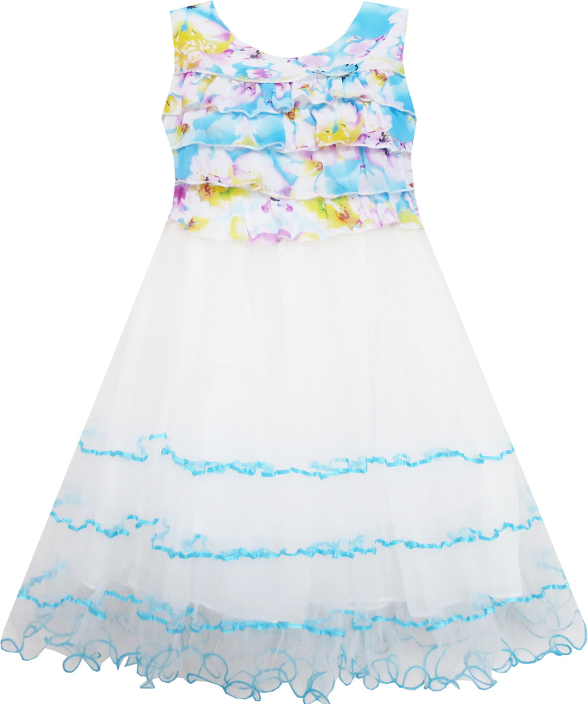 Girls Dress Sleeveless Pleated Bodice Lace Tiered Skirt Blue Size 5-12 Years