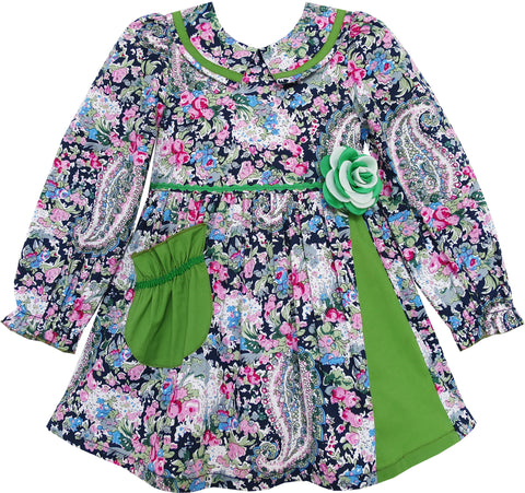 Girls Dress Turn-down Collar Paisley Flower Green Size 2-6 Years