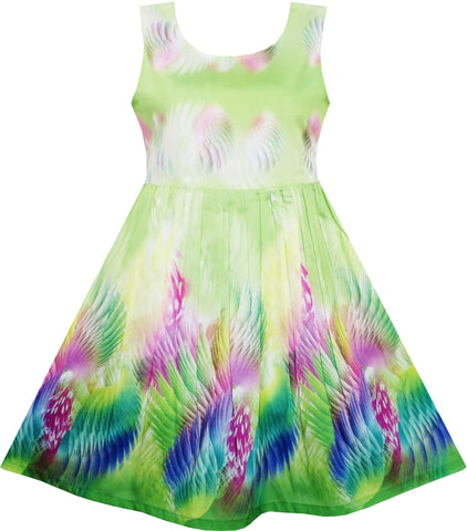 Girls Dress Sky Fantasy Colorful Angel Wings Feather Green Size 4-12 Years