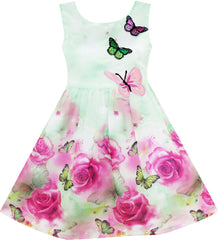 Girls Dress Rose Flower Print Butterfly Embroidery Green Size 4-12 Years