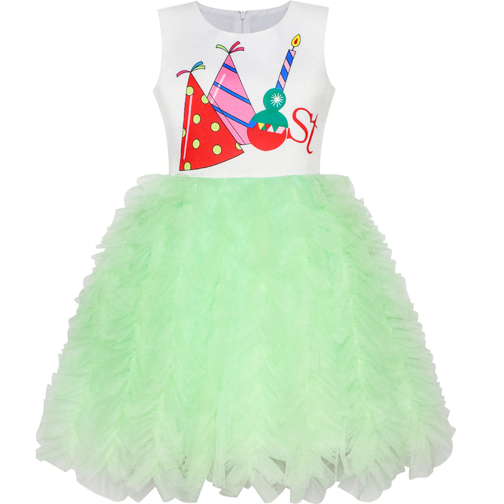 Girls Dress Happy Birthday Candle Party 1st Birthday Tutu Dress Size 12M-8 Years