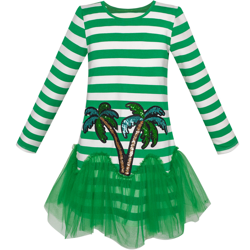 Girls Dress Green Coconut Tree Stripe Drop Waist Tutu Size 5-12 Years