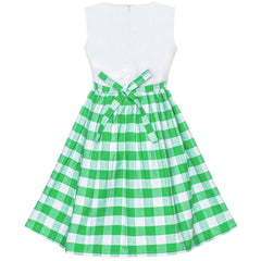 Girls Dress Green Tartan Plaid Sundress Back School Size 4-10 Years