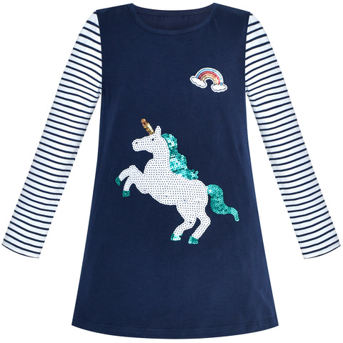 Girls Casual Dress Unicorn Sequins Embroidered Long Sleeve Size 2-6 Years