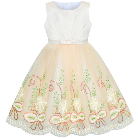 Flower Girl Dress Champagne Floral Wedding Party Size 6-12 Years