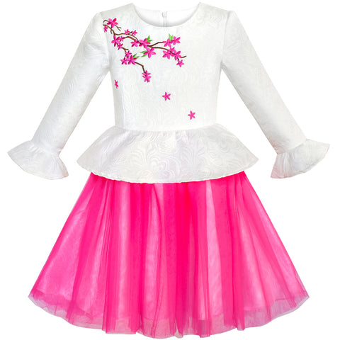 Girls Dress 3/4 Sleeve Plum Flower Embroidery 2-in-1 Set Size 7-14 Years