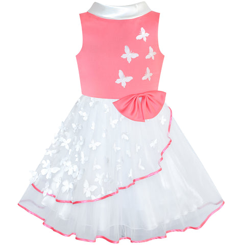 Flower Girls Dress Coral And White Butterfly Pageant Size 6-12 Years