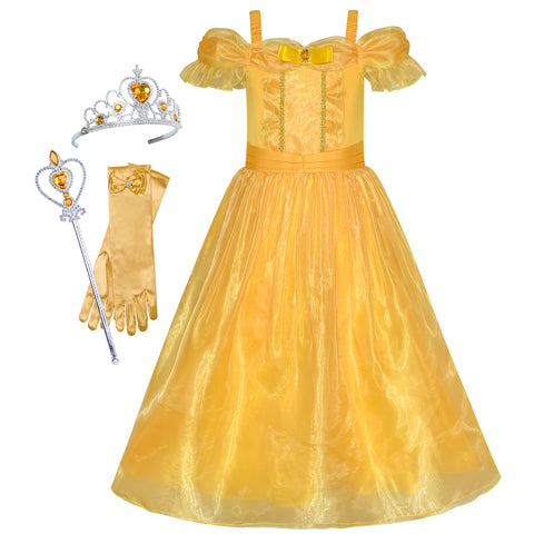 Princess Belle Dress Up Accessories Crown Magic Wand Size 4-12 Years