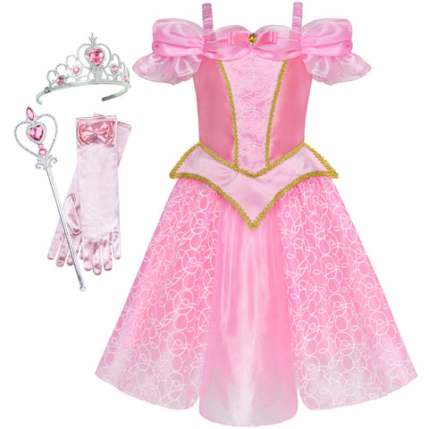 Girls Dress Princess Costume Accessories Crown Magic Wand Size 4-10 Years