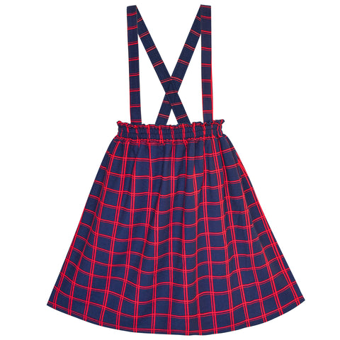 Girls Dress Suspender Skirt Tartan Plaid Back School Size 4-12 Years