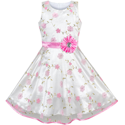 Girls Dress Pink Floral Tulle Birthday Party Wedding Size 4-12 Years