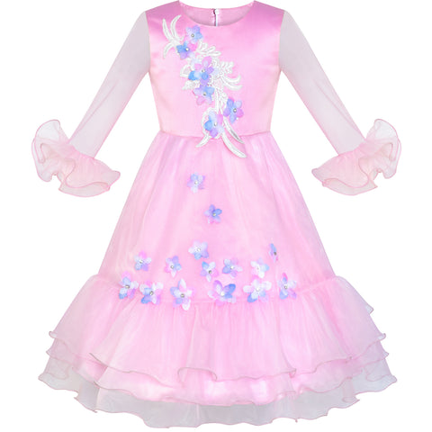 Flower Girl Dress Pink Bell Sleeve Flower Pageant Size 6-12 Years