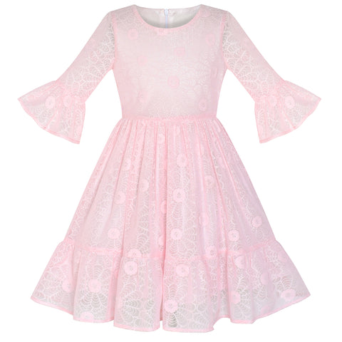 Girls Dress Pink Lotus Sleeve Lace Princess Party Dress Size 5-12 Years