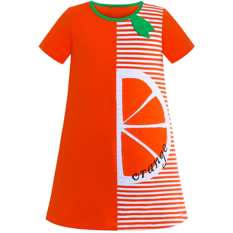 Girls Casual Dress Cotton Short Sleeve Orange Embroidered Size 2-6 Years