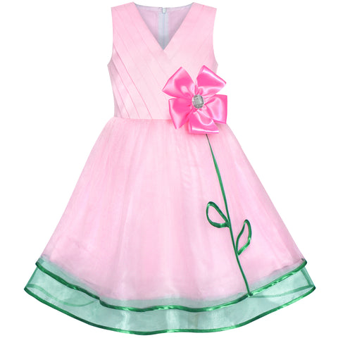Girls Dress Pink Flower Tulle Pleated Birthday Party Size 6-12 Years