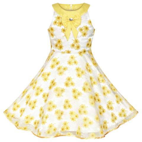 Flower Girls Dress Yellow Bridesmaid Pageant Wedding Party Size 6-12 Years