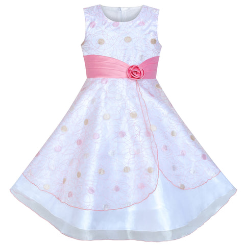 Flower Girls Dress Dot Tulle Pink Wedding Party Bridesmaid Size 4-12 Years