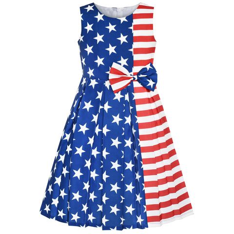 Girls Dress American Flag National Day Party Dress Size 4-14 Years