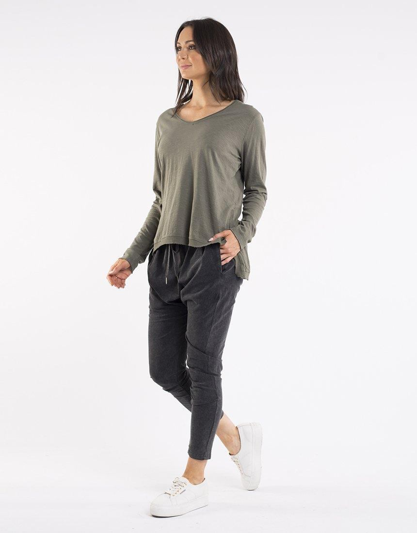 Foxwood Highline V Neck Top - Khaki