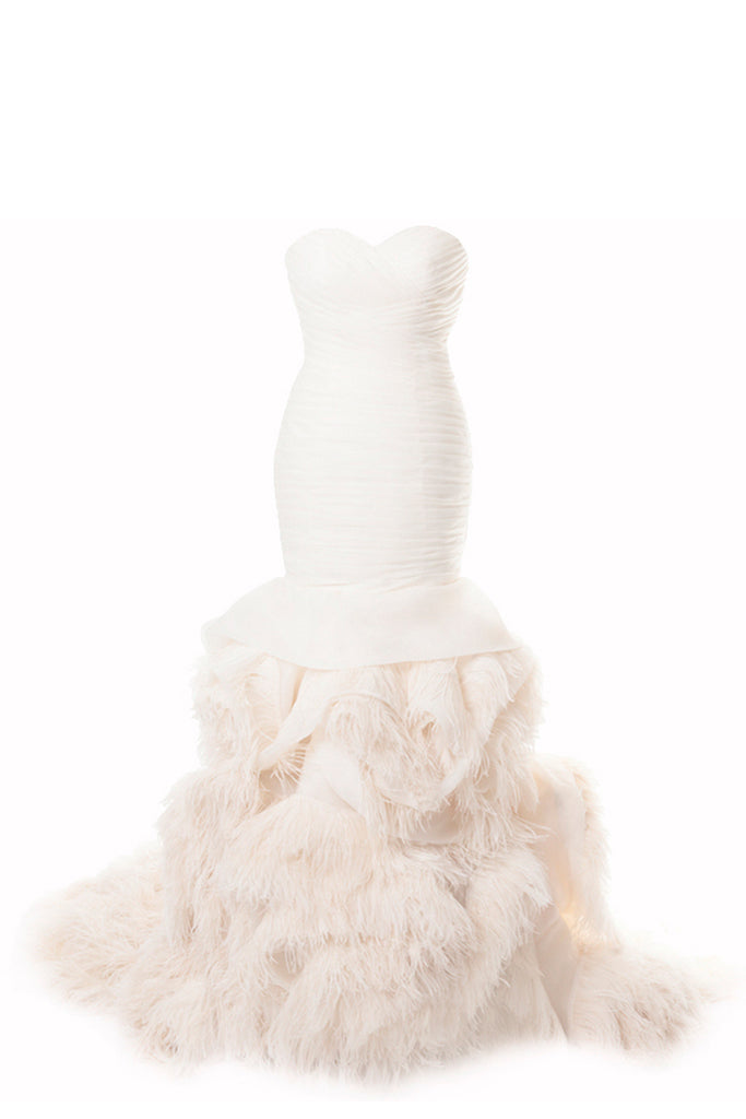 Pleated Organza & Ostrich Feather Gown