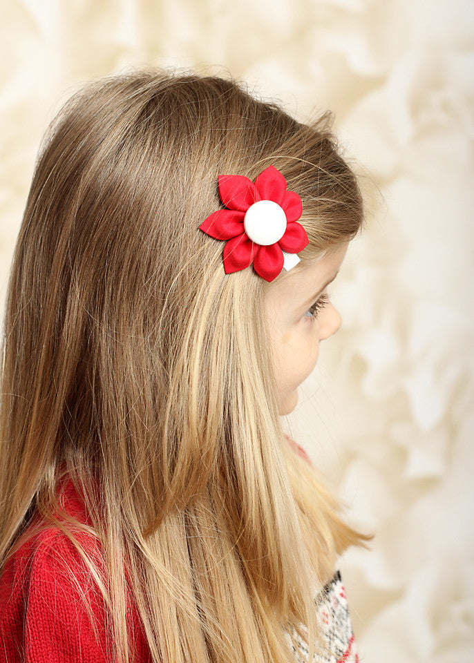 Red & White Kanzashi Fabric Flower-Available in 4 Styles - Hold It!