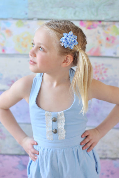 Blue Check Gingham Kanzashi Fabric Flower-Available in 4 Styles - Hold It!