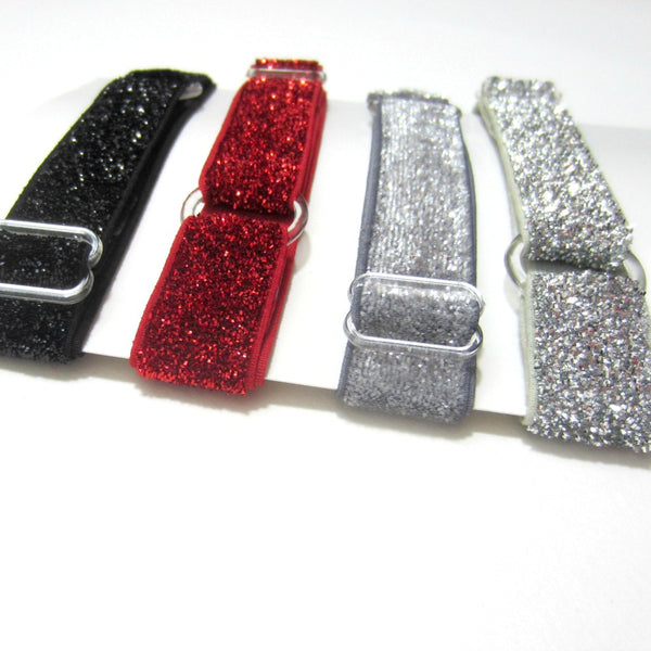 Adjustable Elastic Headband-Set of 4 Black, Red, Dark Grey, Silver Frost Glitter - Hold It!