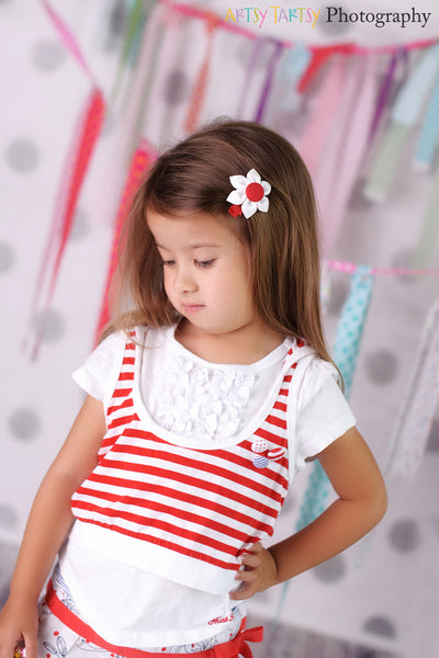 White & Red Kanzashi Fabric Flower-Available in 4 Styles - Hold It!