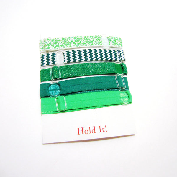 Set of 5 Adjustable Headbands - Green Glitter & Chevron - Hold It!