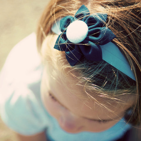 Navy Blue & White  Kanzashi Fabric Flower-Available in 4 Styles - Hold It!