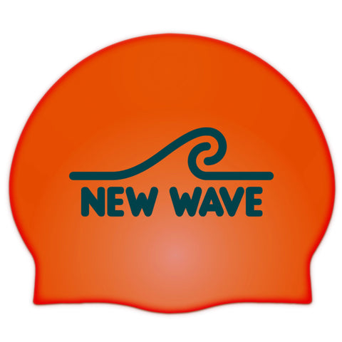 Swim Cap Orange - New Wave Silicone Swim Cap best open water swim buoy