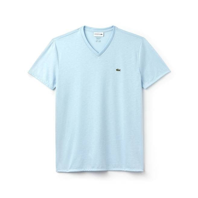 LACOSTE V NECK T SHIRT TH7610SKY
