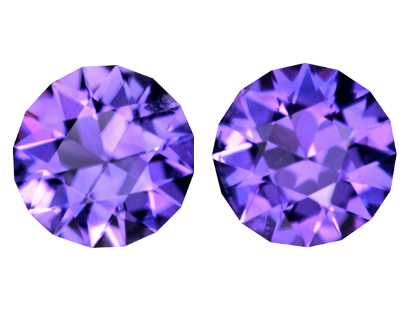 6mm Pair Natural Vivid Purple Amethyst - Round Master Cut AAA+ - Uruguay - Extra Fine Grade - NW Gems & Diamonds