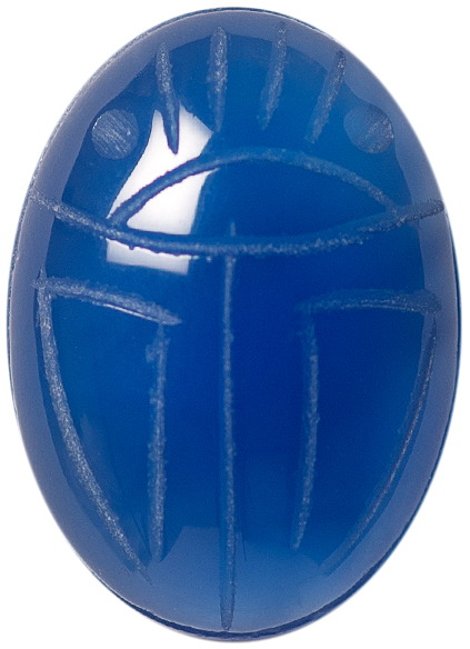 Natural Fine Blue Onyx Scarab - Oval - Brazil - AAA Grade
