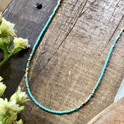 handmade Matte turquoise and brass beaded full length necklace