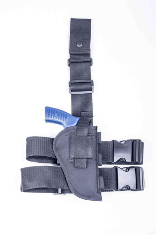 "NTAC08 · Premium Nylon Thigh Holster with Ammo Loops · For most 2.5-3"" 6-shot revolvers"