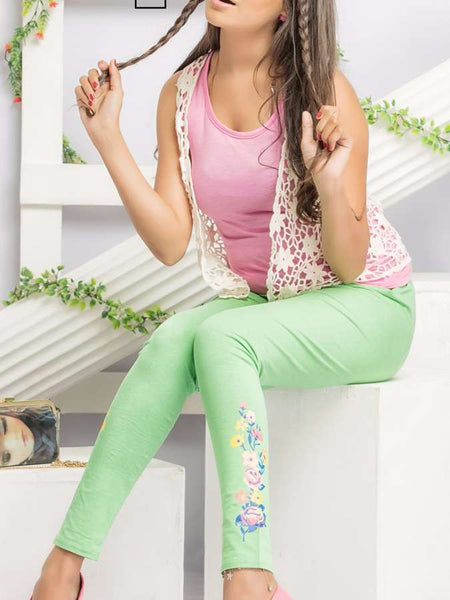 Green Printed Leggings - PurpleTulsi.com